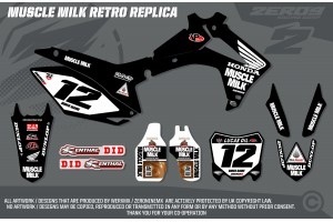 Honda Race Team Graphic Kit - Muscle Milk Retro Black