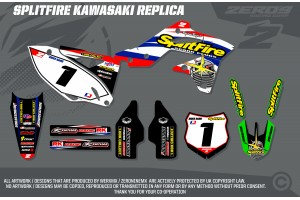 Kawasaki Retro Team Graphic Kit - Splitfire Kawasaki White