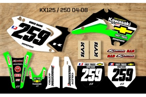 Kawasaki Retro Team Graphic Kit - Chevy Trucks KX 125-250 04-08