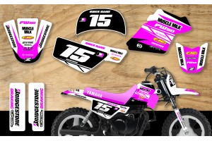 Yamaha PW50 Race Team Graphic Kit- Muscle Milk Pink/White