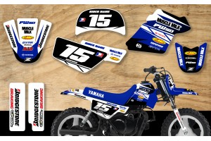 Yamaha PW50 Race Team Graphic Kit- Muscle Milk White/Blue