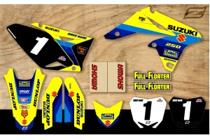 Suzuki Retro Team Motocross Graphic Kit - Bomber