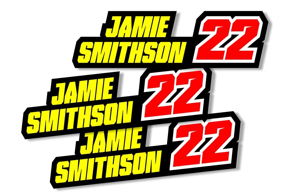 Custom Racing Name Stickers