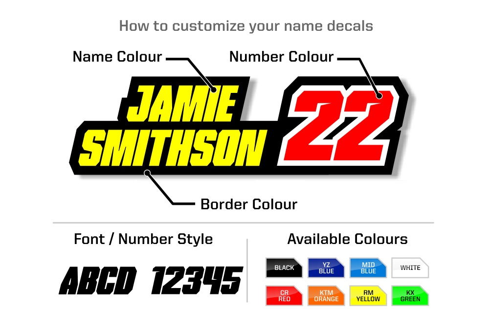 Custom name decals with race number
