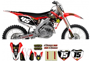 Honda Rockstar Graphic Kit  - Factory Red / Black 11