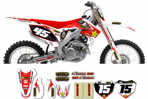 Honda Rockstar Graphic Kit  - Factory White / Red 11