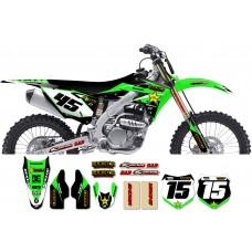 Kawasaki Rockstar Graphic Kit  - Factory Black / Green 11