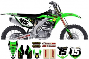 Kawasaki Rockstar Graphic Kit  - Factory Black / Green 11