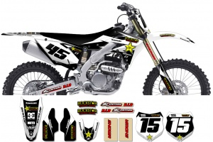 Kawasaki Rockstar Graphic Kit  - Factory White / Silver 11
