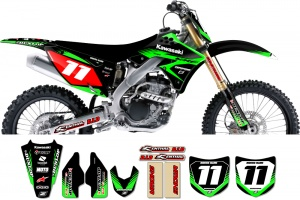Kawasaki Zeronine Graphic Kit - Targa2 Black / Green