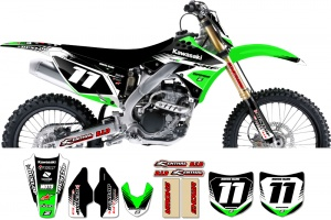 Kawasaki Zeronine Graphic Kit - Targa2 Green / Black