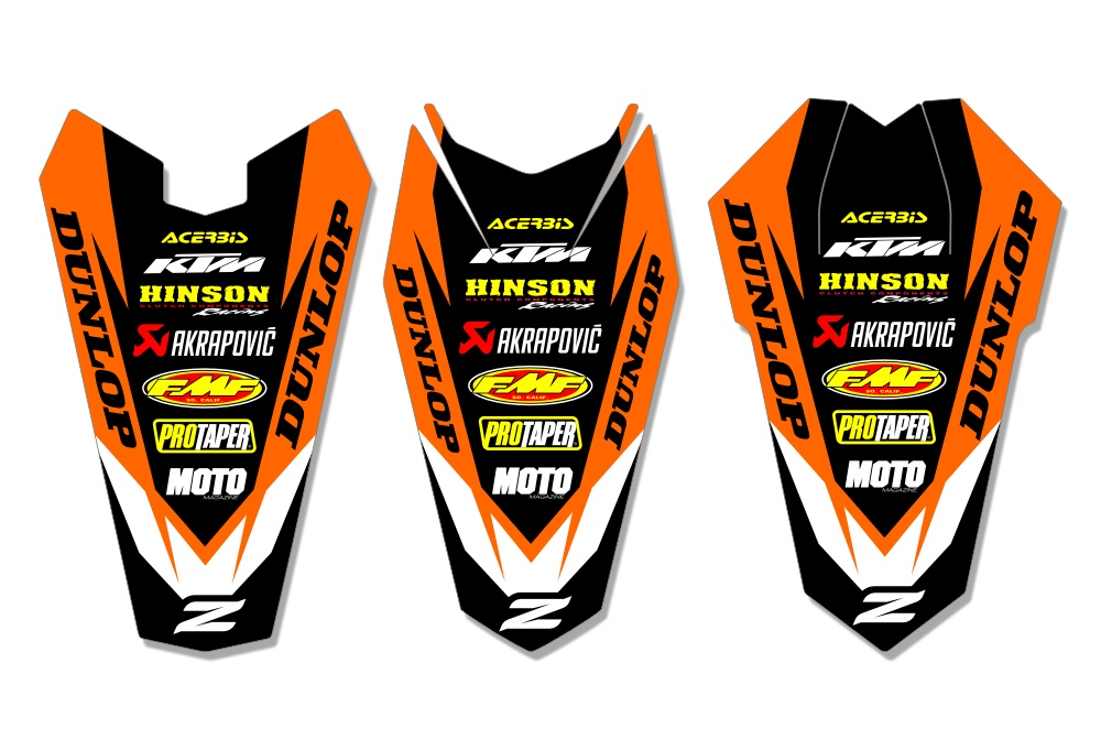 Ktm rear fender decal core orange black