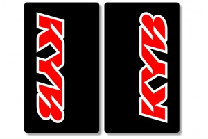 KYB Black Upper Fork Decals Red / White